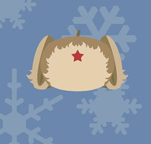 Girl with blonde pig tails, red star on forehead, and snow flakes.