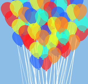 Bouquet of colored ballons.