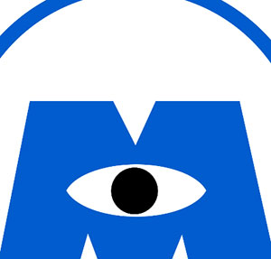Blue M with eye in the middle.