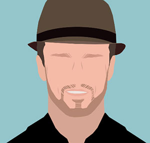 Man with fedora and scruffy facial hair.