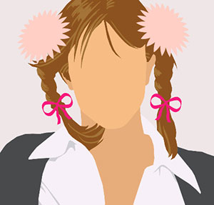 A woman with long brown hair in pink pigtails and a grey a sweater and white oxford shirt