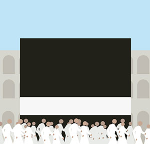 A bunch of people in white robes walking past a black box with a white stripe on the bottom