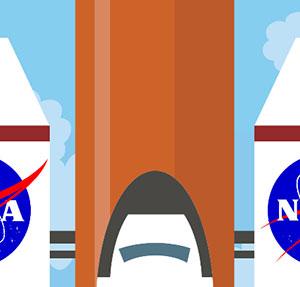 A Nasa Space ship on an orange rod