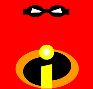 A red background with a black face mask and a yellow