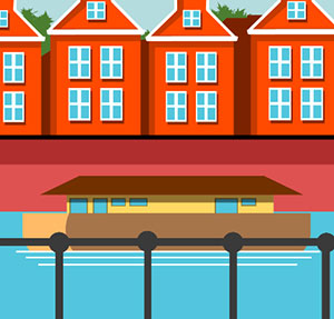 A bunch of red houses stacked together with a boat on the water, and a railing in front of everything