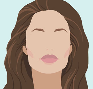 A woman with long brown hair and pink lips and no eyes
