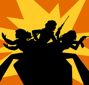 An orange and yellow background with three women popping out from all directions holding guns and doing karate moves