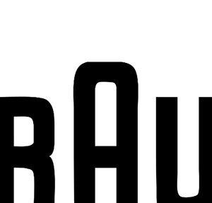 A white background with three black letters showing, and the one in the middle is bigger