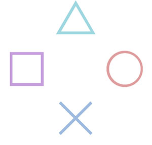 A green triangle, a purple square, and orange circle, and a blue x