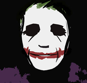 A person wearing white face paint with no eyes, green hair and red lips, with a purple suit