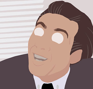A man with slicked back hair, wearing a suit and his eyes are cut out and he's looking up at the sky