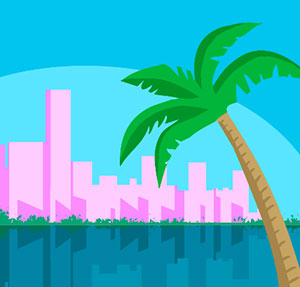 A blue background with pink buildings and a palm tree hanging over