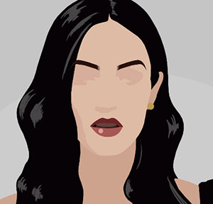 A woman with long black hair, andf dark lips with no other facial featuresa