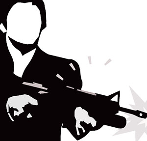 An outline of a man in black and white, holding a machine gun