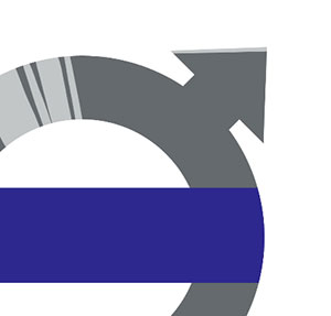 A silver circle with an arrow pointing to the right corner and blue stripe going through