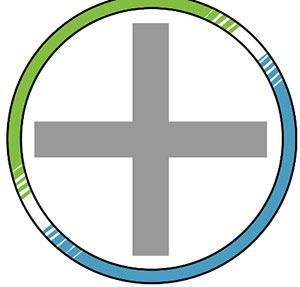 A green and blue circle with a grey cross in the middle