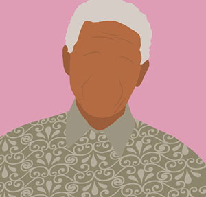 A pink background and a dark skinned man with grey hair and a shirt with designs going across