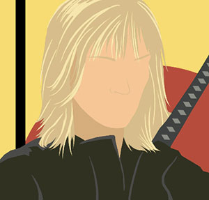A woman  with blonde hair, wearing an all black suit, with a sword behind her back