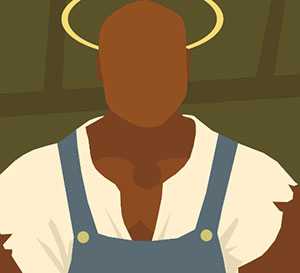 A dark man wearing a white t-shirt and blue overalls, and he has a gold halo above his head