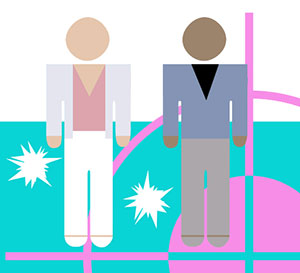 Two figures dressed in bright outfits on a bright blue floor with a pink crosshair