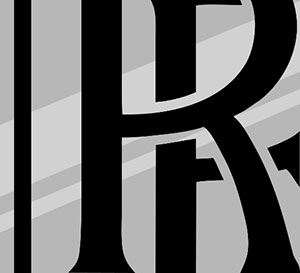 A silver background with two black R's in the middle