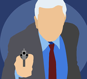 A man with white hair wearing a suit and pointing a gun