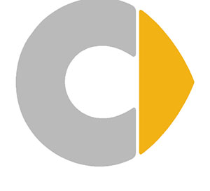 A grey half circle and a yellow triangle on the side