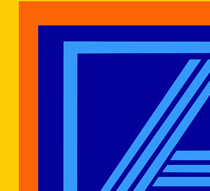 A yellow and orange border around a blue middle with the letter A