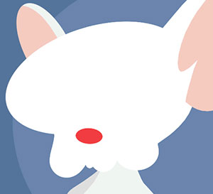 A white mouse with a red nose