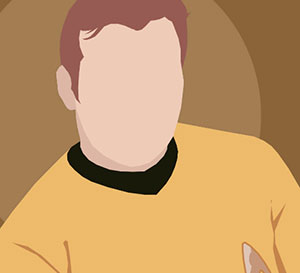 A man wearing a mustard colored sweater and brown hair