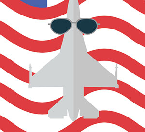 An airplane with sunglasses on it in front of a red and white stripped background