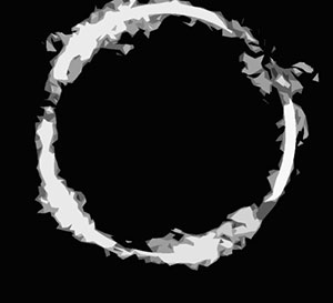 A black background with a silver ring
