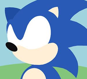 A blue character with spikey hair and white eyes and a black nose