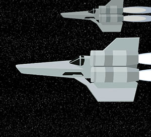 Two silver space ships flying in Space