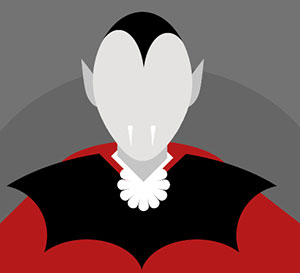 A person with white fangs wearing a black and red outfit