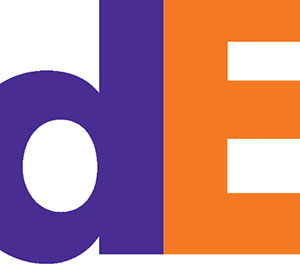 Purple and Orange letters in front of a white background