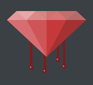 A grey background with a red diamond with blood dripping down