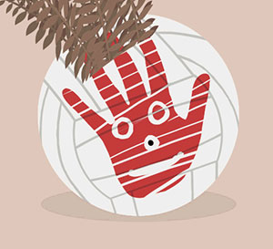 A volleyball with a red hand print on it