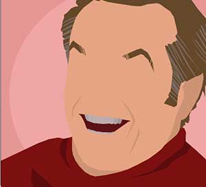 A man laughing wearing a red turtleneck.