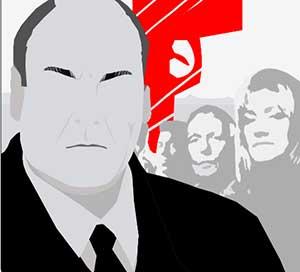 An image on a man in a tuxedo, a red gun, and a group of people standing behind him.