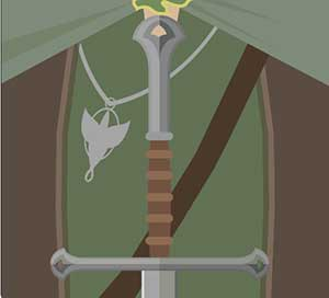 A sword, a dove hanging from a necklace, a green and brown vest.