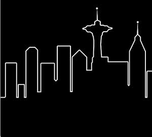 The black and white outline of a city.