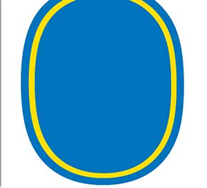 A blue oval with yellow lining.