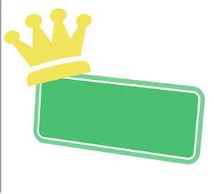 A green rectangle box with a gold crown.
