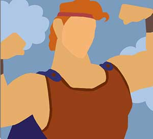 A buff man flexing in front of the clouds.