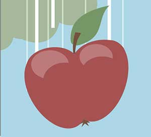 A red apple falling from the sky.