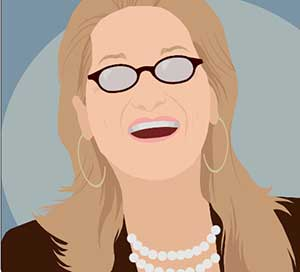 A blonde woman laughing with glasses, hoop earrings and pearls.