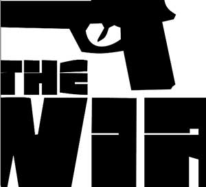 A black hand gun and the letters W, I, R.