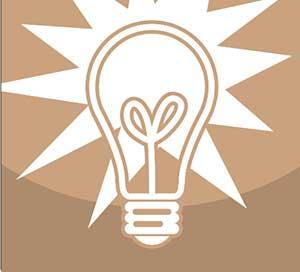 A shining light bulb.