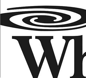 A large black W underneath a swirly circle.